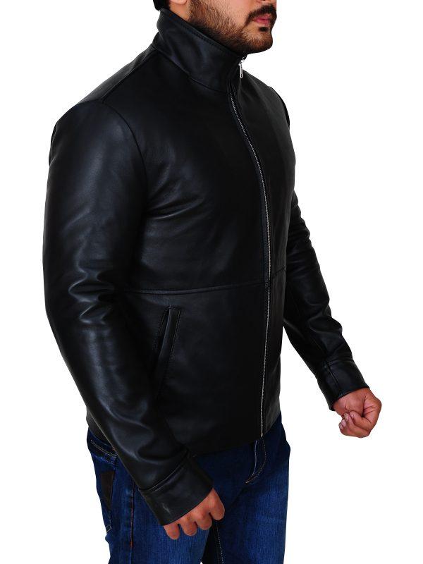black leather jacket, slim fit black leather jacket,