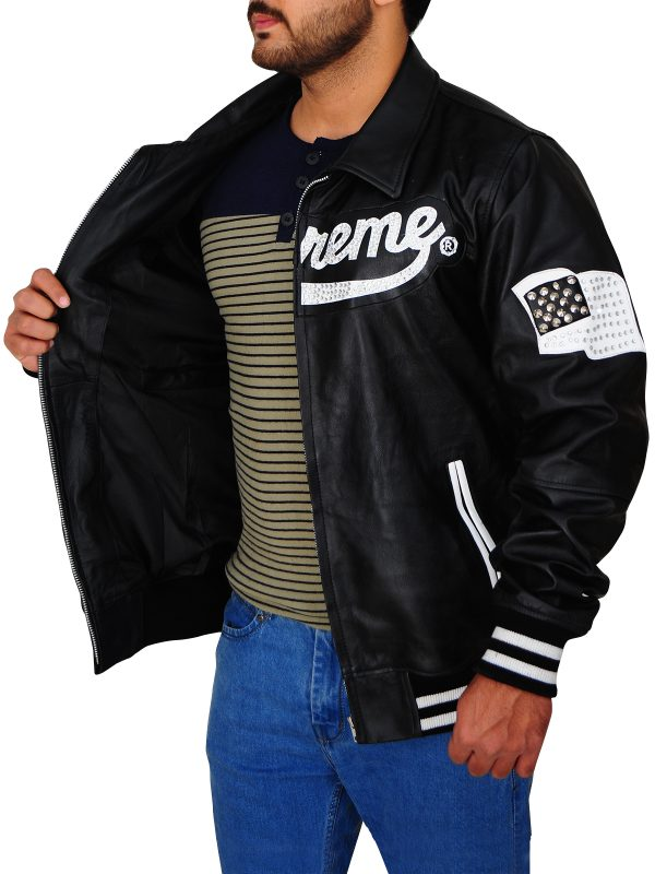 men black supreme leather jacket, supreme black leather jacket,