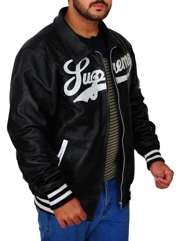 black supreme leather jacket, black bomber supreme leather jacket,