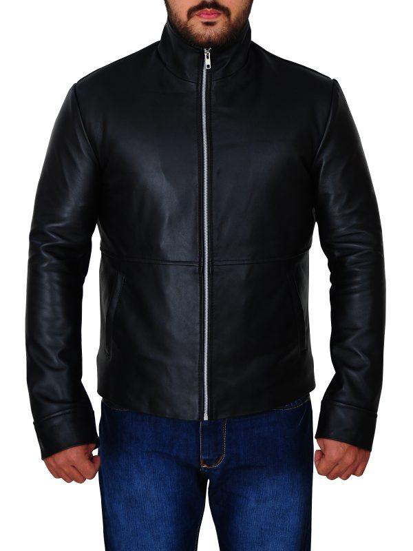 body fitted black leather jacket, stylish men black leather jacket,