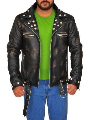 men distressed leather jacket, distressed leather jacket for men,