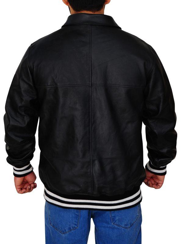 black bomber leather jacket, men black bomber jacket,