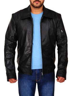 dashing black leather jacket for men, men's black leather jacket,