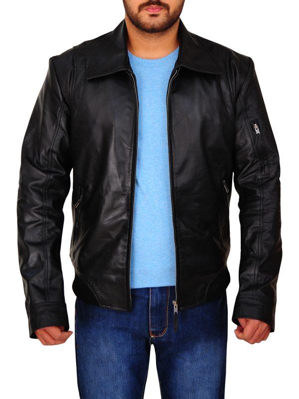 dashing black leather jacket for men, men's black leather jacket,