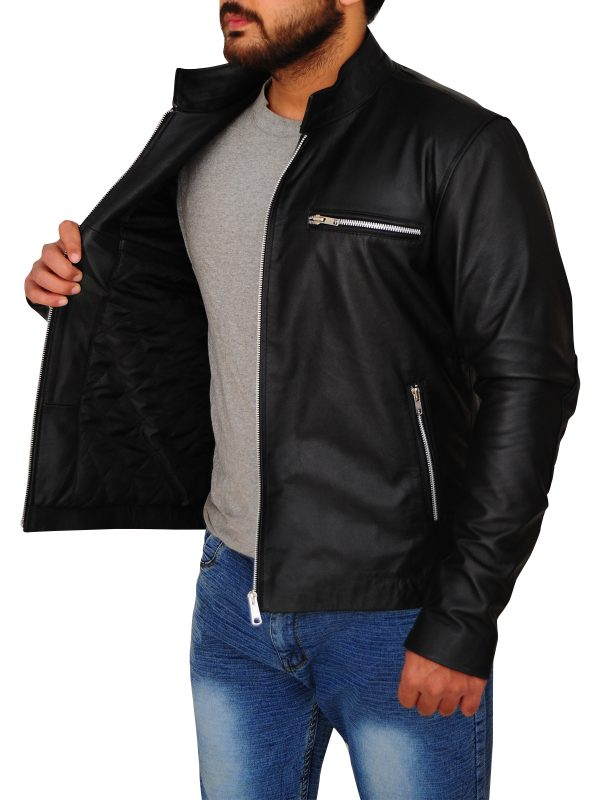 stylish black leather jacket, sleek black leather jacket,