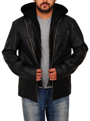 trending black leather jacket, trending men's black leather jacket,