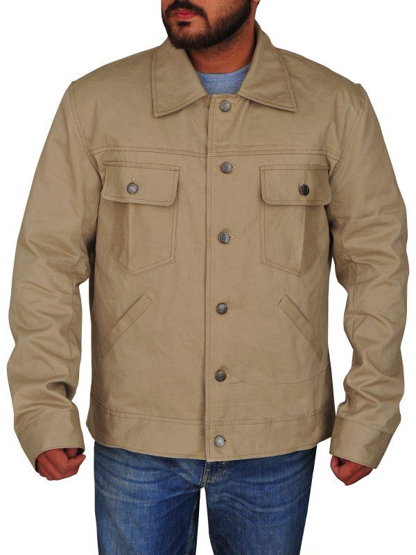 men khaki cotton jacket,cotton jacket in khaki color,