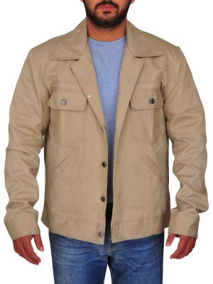 men cotton jacket in khaki color, khaki color cotton jacket for men,