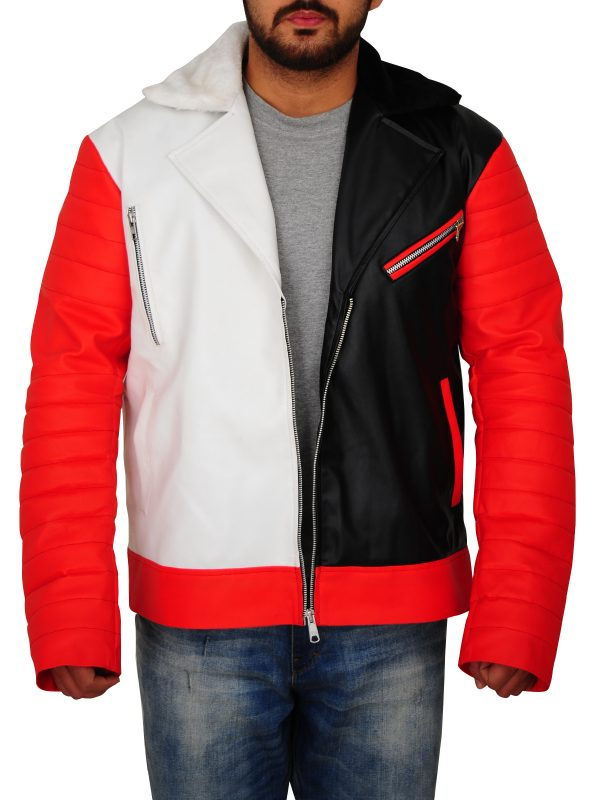 black and white men leather jacket, black and white leather jacket for men,