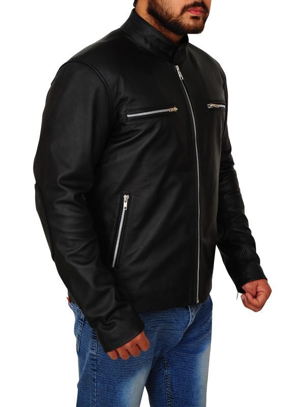 fashionable black leather jacket, men black leather jacket,
