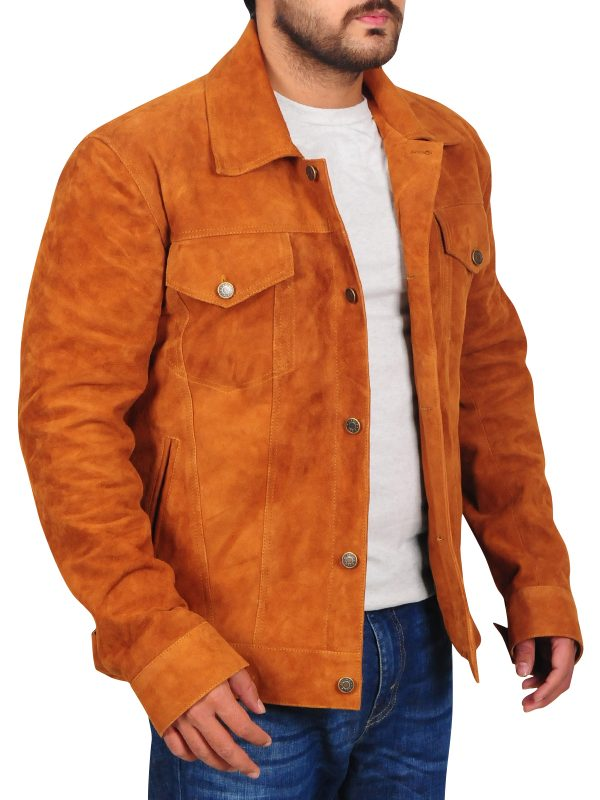 classic brown men leather jacket, country boy brown leather jacket,