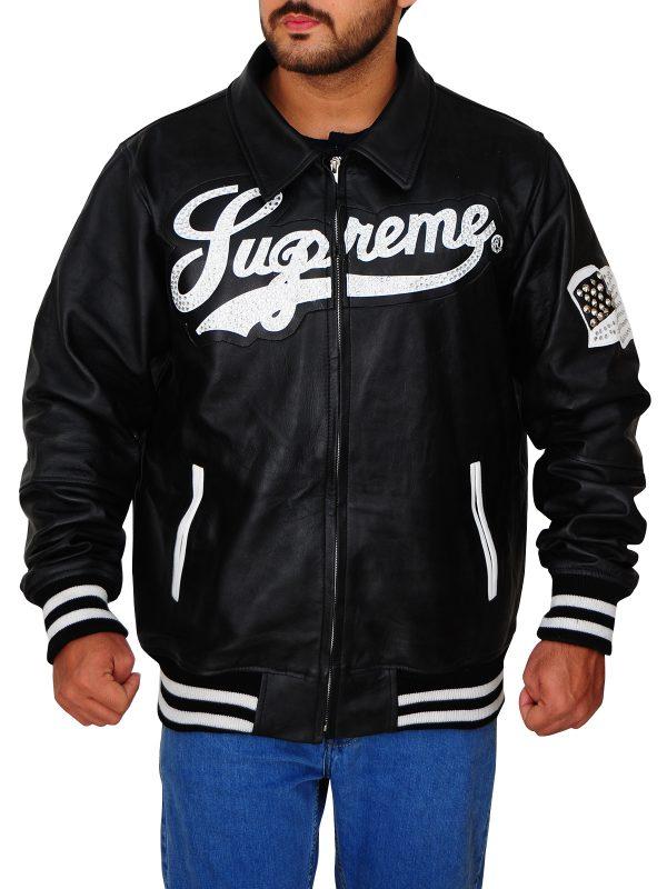 men's supreme black leather jacket, men's black bomber supreme jacket,