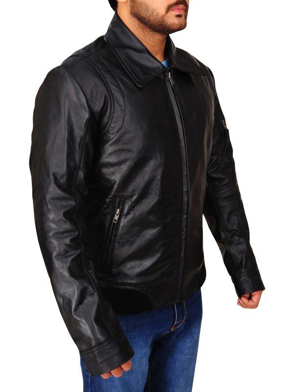 rib knitted black leather jacket, stylish black leather jacket,
