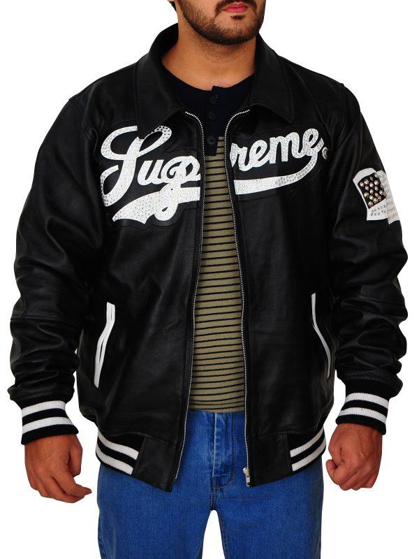 stylish supreme black leather jacket, supreme bomber leather jacket,
