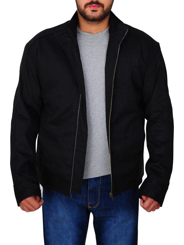simple black cotton jacket, men's black cotton jacket,