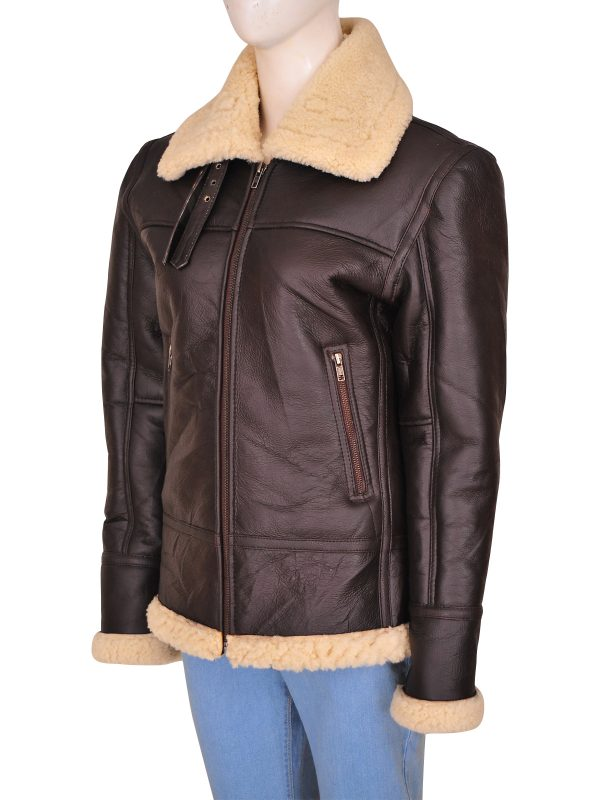 women b3 aviator leather jacket, women b3 shearling aviator jacket,