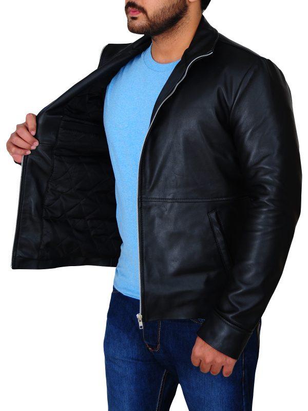 cool men black leather jacket, slim fit black leather jacket for men,