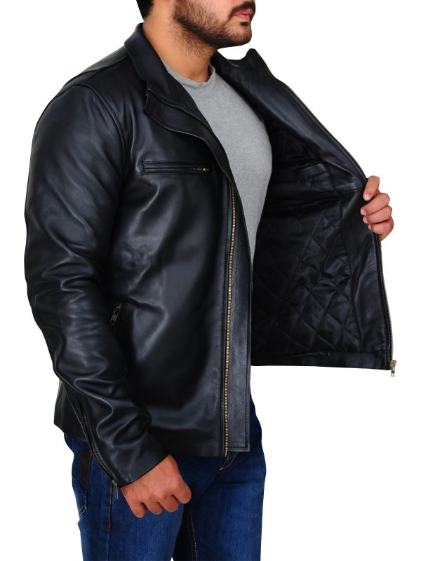 stylish black leather jacket, dashing black leather jacket,