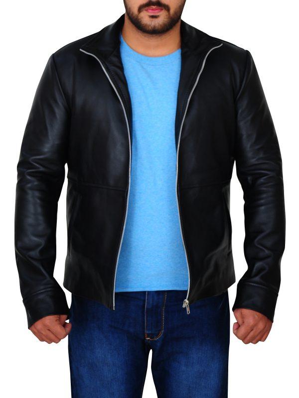 dashing black leather jacket, fashionable black leather jacket,