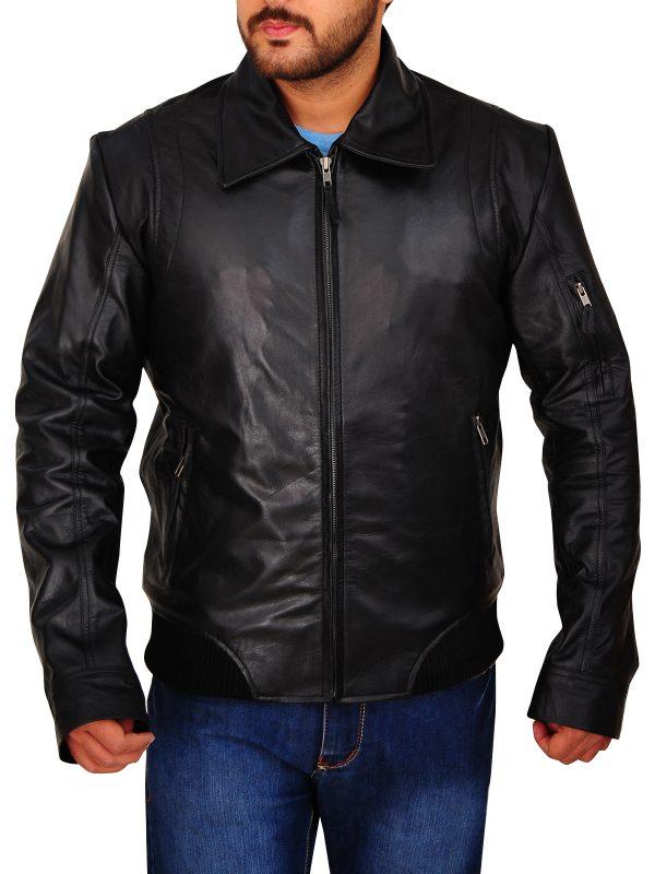 fashionable black leather jacket, trendy black leather jacket,