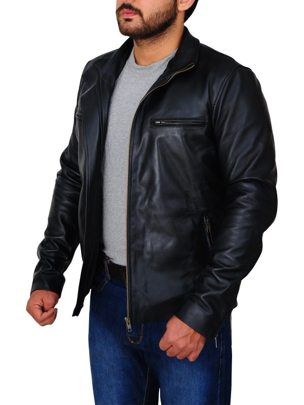 dapper black leather jacket, sleek black leather jacket,