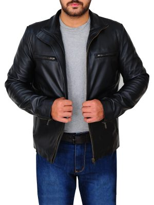 slim fit black leather jacket, men's black leather jacket,
