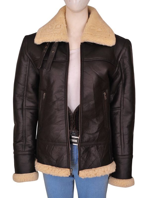 women b3 bomber shearling aviator leather jacket, women brown aviator jacket,