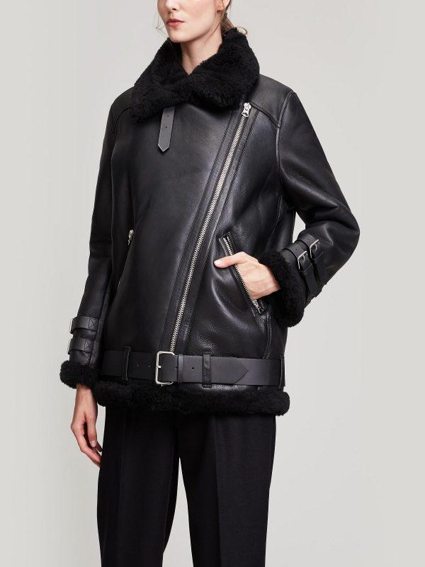 women b3 bomber leather jacket