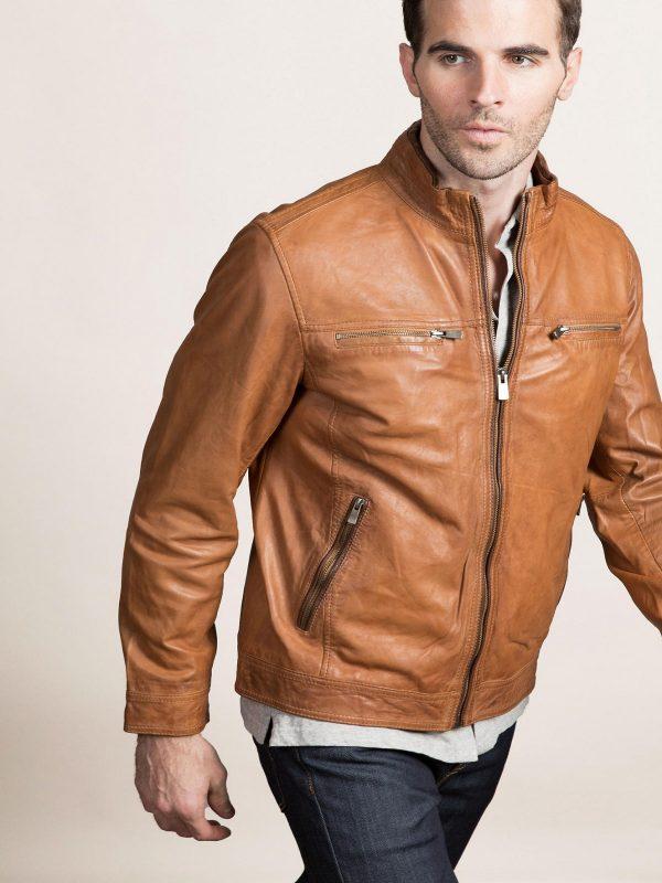 trending men tan leather jacket