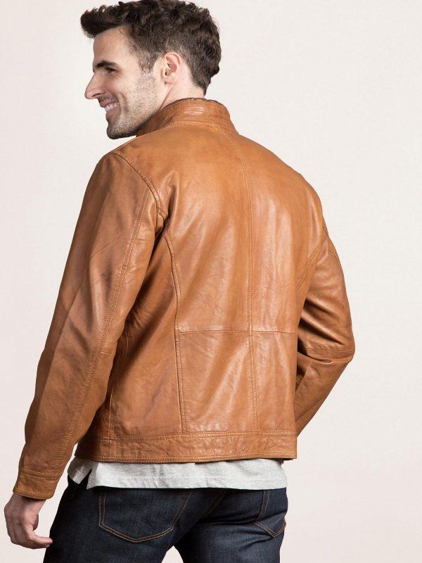 stylish tan leather jacket