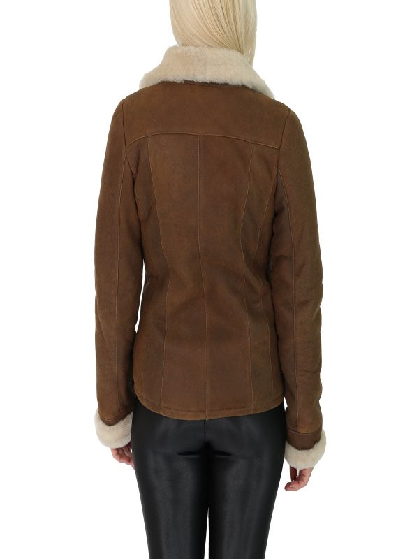 women brown shearling leather jacket