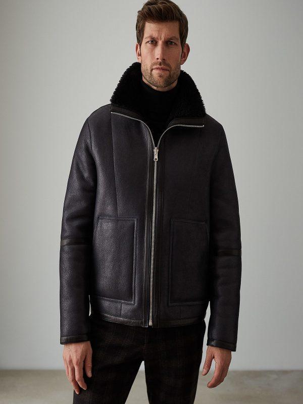 men black shearling leather jacket