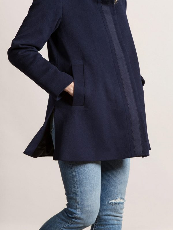 women blue peacoat