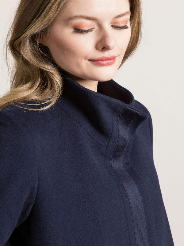 women blue wool coat
