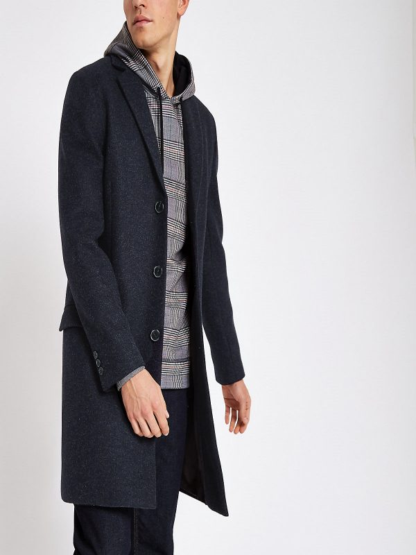 men navy blue overcoat