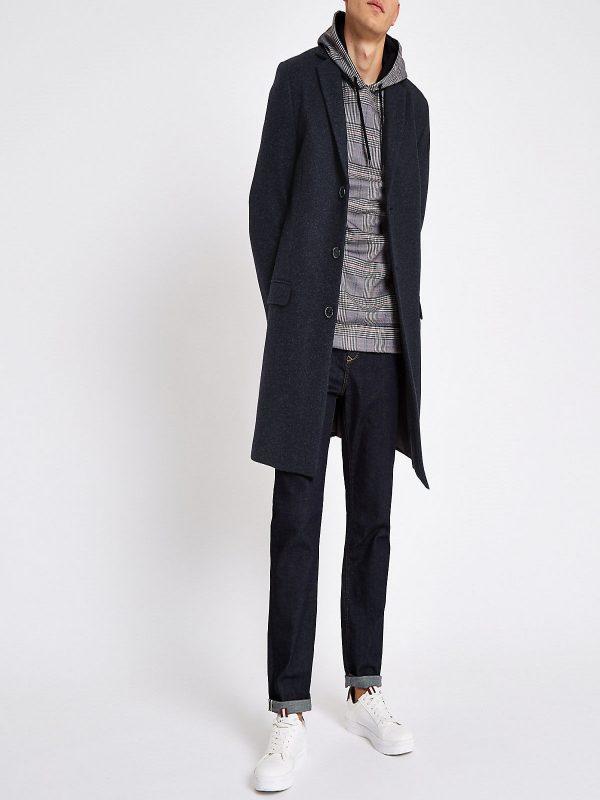 men blue wool coat