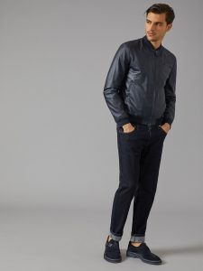 Men Navy Blue Leather Jacket - MauveTree