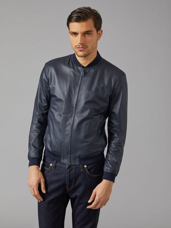 men navy blue leather jacket
