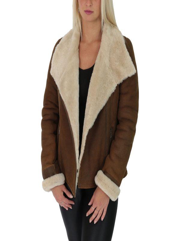 women brown sheepskin jacket
