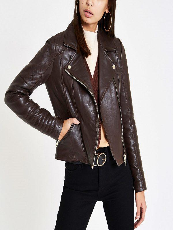 women dark brown leather jacket