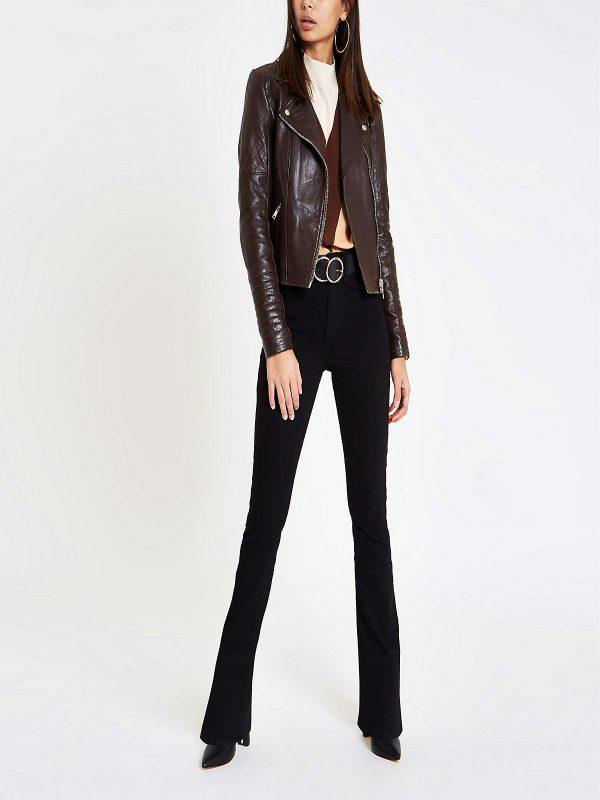 women brown moto leather jacket