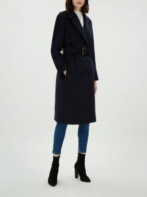 women dark blue wool coat