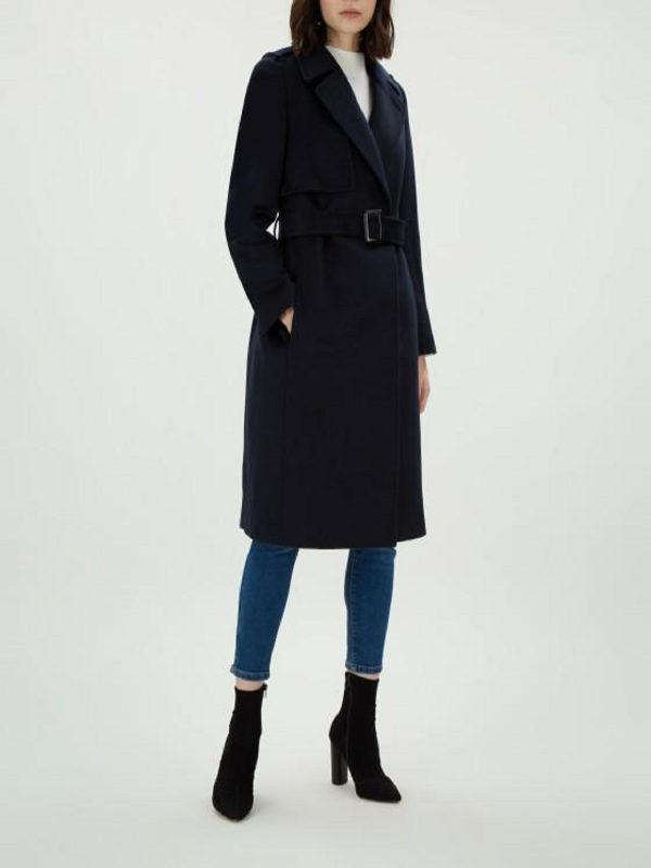 women dark blue wool coat