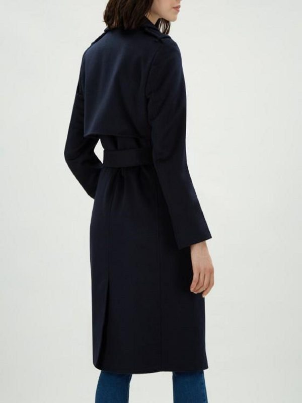 women blue wool trench