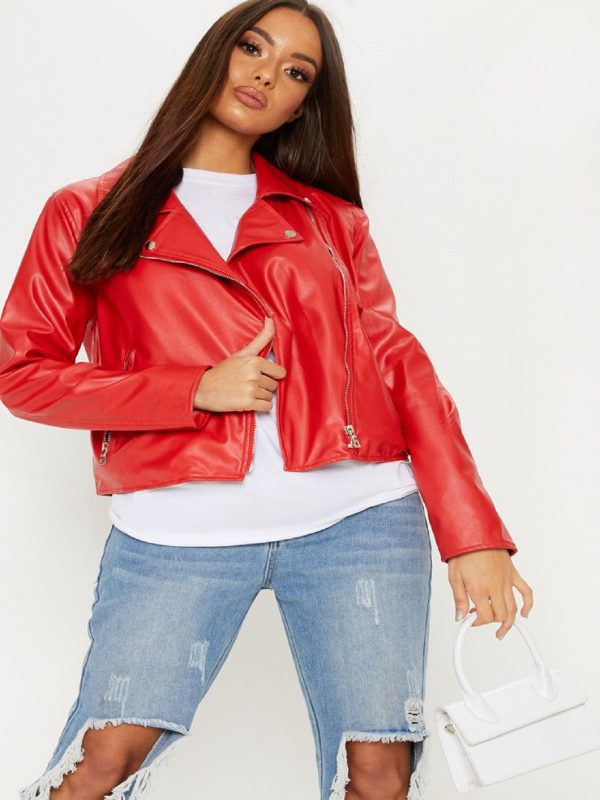 women bright red jacket