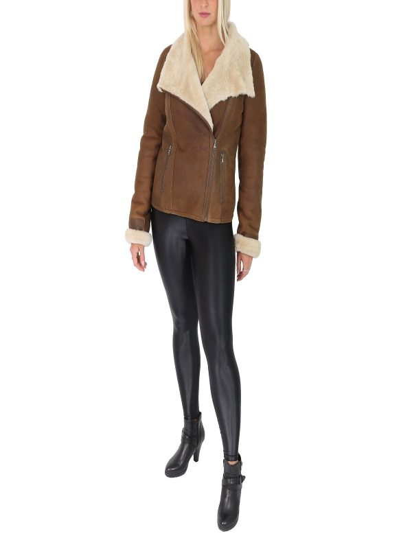 simple women brown leather jacket