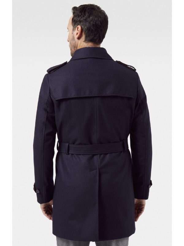 men blue long coat