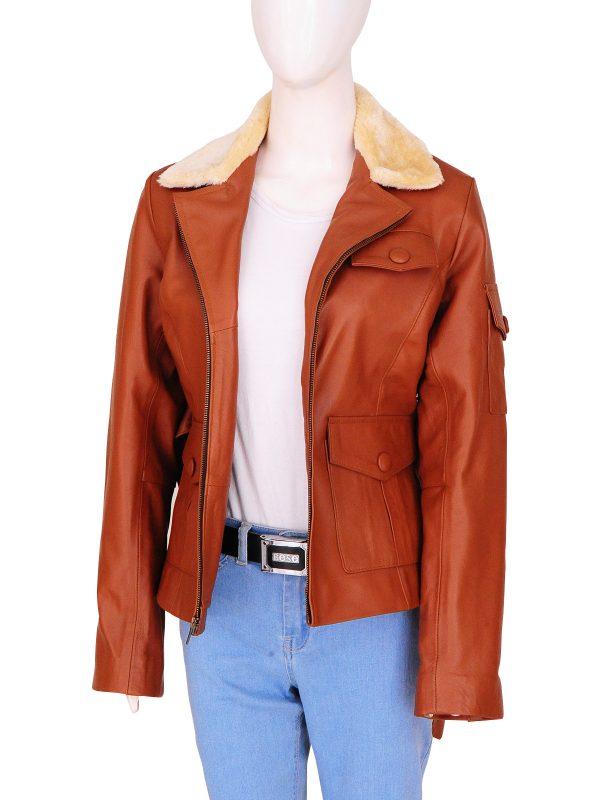women tan leather jacket