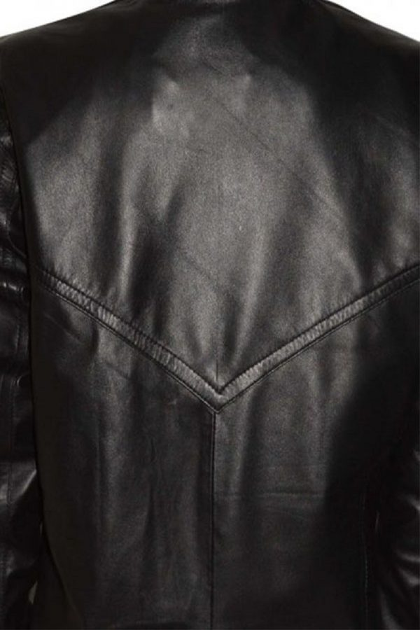 black widow black leather jacket