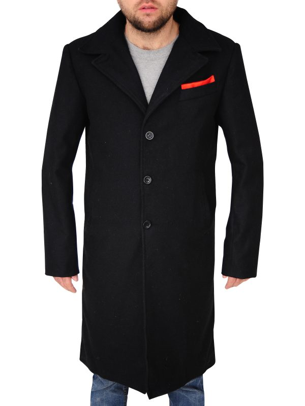 men black wool coat, men wool coat,